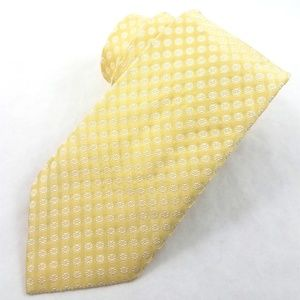 Burberry London Yellow White Italian Silk Neck Tie